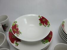 Gibson Home Christmas Poinsettia Dinnerware Set of 8 Cereal Soup Dinner Bowls