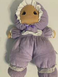 Little Darlins Purple Multi Terry Cloth Doll Plush Darling  Girl Brown Eyes
