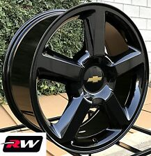 "Chevy Tahoe Wheels 20"" inch 2007-2013 LTZ Gloss Black 20x8.5 Rims 6x5.50 6x139.7"