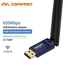 2.4G/5.8G USB Wireless Bluetooth Adapter 600Mbps WiFi Mini Dongle for PC Network