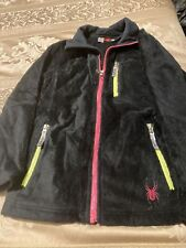 Girls L Spyder Fleece Jacket Black with Pink and Green Zippers
