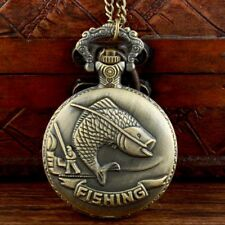 Antique Bronze Fishing Pocket Watch Vintage Quartz Necklace Chain Pendant Retro