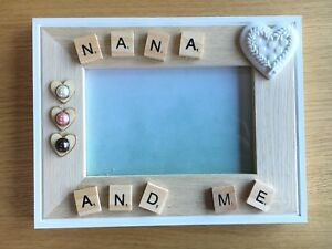 Handmade Wooden Photo Frame Scrabble Picture Frame NANA or ANY Name
