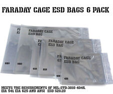 Faraday Cage ESD EMP Protection Bags 6 Pack Military Standard