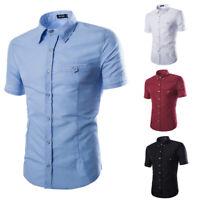 Mens Formal T-Shirt Short Sleeve Plain Muscle Casual Golf Tops T-Shirt Blosue