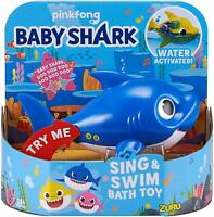 Daddy Shark Sing & Swim Bath Toy Water Activated Robo Fish Playset - Blue