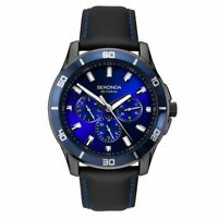 Sekonda Gents Midnight Blue Chronograph Watch Blue Dial Leather Strap RRP £89.99