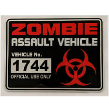 "ZOMBIE ASSAULT VEHICLE pvc sticker 6"" x 4.5"" car truck atv utv tractor"