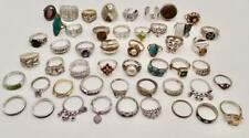 265 GRAM LOT OF 50 VINTAGE AND NEW STERLING SILVER RINGS SIZE 4-11