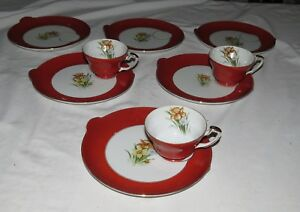 Occupied Japan Snack Plates and Cups UCAGCO