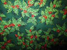Vintage Christmas Fabric HOFFMAN JAPAN Cotton HOLLY Red Gold Hunter Green BTY 45