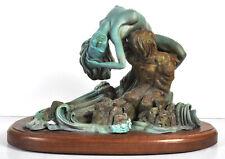 """Rik Sargent Bronze Sculpture Nude Woman Man Embrace 14"""" x 11"""" Signed Limited"""