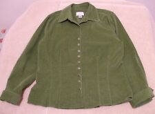 Christopher & Banks Size M Snap Front Green Pinwale Corduroy Jacket, long sleeve