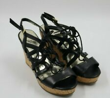GUESS Womens Ladies Black Strappy Cork Wedge Heel Sandals Shoes Size 7M