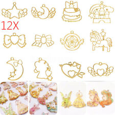 12pcs 12Styles Metal Frame Pendant Bezel Resin Charm UV Casting Blanks Crafts