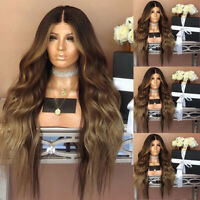 Women Brown Synthetic Front Wig Long Wigs Wavy Full Wigs Curly Fashion UK NEW