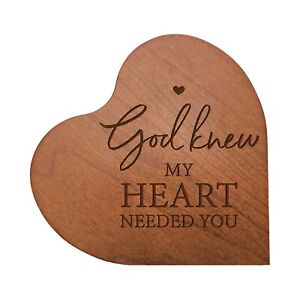 Heart Block Wooden Home Decor 5x5.25 Engraved (God Knew My Heart Needed You)