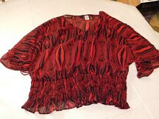 Prima Anna 1/2 Sleeve shirt blouse Womens Size L Red Black Sheer NWOT
