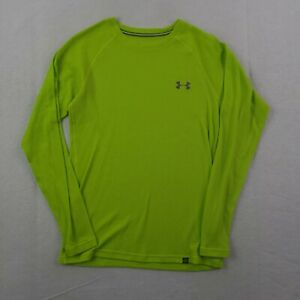 Under Armour Shirt Mens Small Fitted All Season Neon Green Long Sleeve Waffle