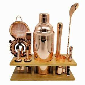 Cocktail Shaker Set Stainless Steel Bartender Kit With Square Wooden Rack Tool