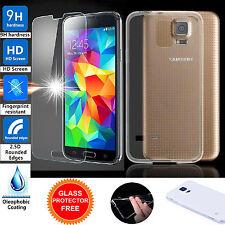 Gel TPU transparente Ultra Fino Recubrimiento Estuche Cubierta + Vidrio Templado para Samsung Galaxy S5