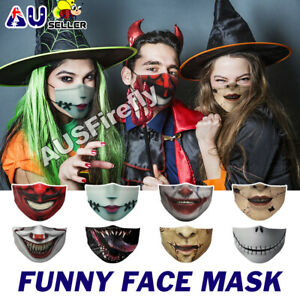 3D Printed Funny Face Mask Washable Breathable Reusable Mouth Protective Cover