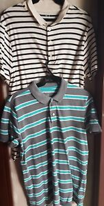 SET OF 2: GAP MEN'S COLLARED SHIRTS, STRIPES Large