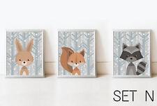 SET Woodland Rabbit Fox Raccoon Nursery Decor Kid Print Animal Picture Baby Room