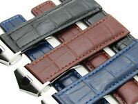 22mm Leather Watch Band Strap Deployment Clasp Made For BREITLING Navitimer