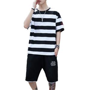 Men's Tracksuit Sets Short Sleeve T-shirt Shorts Pants Sports Summer Suits