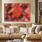 """60"""" RED THREADWORK BOHO CHIC VINTAGE SARI BEADD WALL DÉCOR HANGING TAPESTRY"""