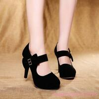 High Heels Round Toe Ankle Straps Womens Shoes Ladies Mary Jane Plus Size Pumps