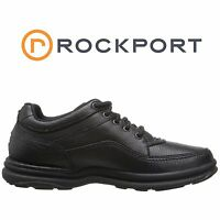 Mens Rockport World Tour Classic Walking Shoe Black Tumbled Leather All Size NIB