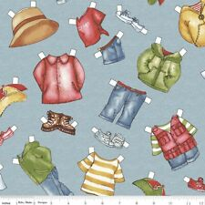 Camping Paper Doll Fabric CLOTHES blue BTY Dolly Dingle cotton quilting NEW hike
