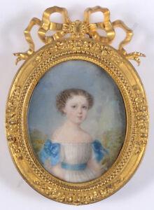 """Elisa Paiuline Binet de Quehelec """"Little girl portrait"""", rare miniature!!, 1830s"""