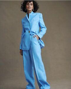 COUNTRY ROAD Pale Blue 100% Linen Suit (Jacket & Pants) Sz 8