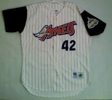 RARE RUSSELL ATHLETIC ANAHEIM ANGELS #42 MO VAUGHN SIGNED JERSEY SIZE 48