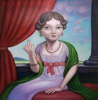 FUCK AUF GUTE MANIEREN canvas Öl auf Leinwand Gemälde Gr. ca. 33x33 cm