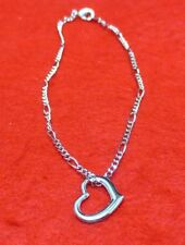 "9 1/2 "" 14Kt White Gold Ep 2Mm Figaro Anklet With Floating Heart"