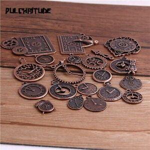Mixed Clock Pendant Charm Vintage Metal Zinc Alloy Four Colors Bracelets Jewelry