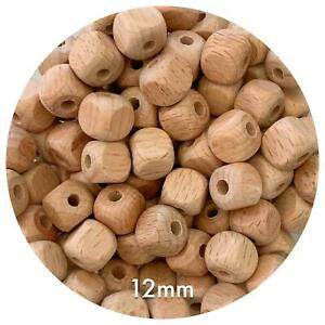 10x Beech Wood 12mm CUBE BEADS unfinished timber raw DIY square Kids Beading Kit