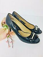 Michael Kors Womens Size 6 Black Patent Leather Heels Peep Toe 2.5' Pumps