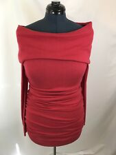 Rachel Roy Women Red Ruched Cashmere Cotton BlendStrapless Sweaterdress L(A214)