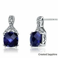 Created Blue Sapphire 18K White Gold Plated Stud Earrings, Round