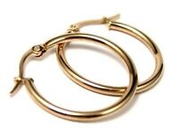 Hoop Earrings Yellow Gold PVD Hypoallergenic Surgical Steel 2 Sizes Offered