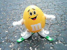 "NOS VINTAGE EUROPEAN EXCLUSIVE 7"" YELLOW M&M CANDY DISPENSER - SKIING (S20)"
