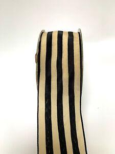 1M Solid Stripe Wide BLACK / DARK IVORY Ribbon Floristry Wedding Christmas Bows