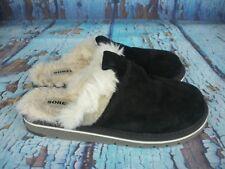 Sorel NL2126 Newbie Black Suede Faux Fur Lined Mule Slippers Shoes Women's 8