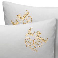 PERSONALISED JUST MARRIED or ANNIVERSARY WEDDING PILLOW CASES NAMES, DATE