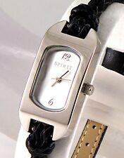 Retro designer esprit ovale, bracelet en cuir tressé bracelet, argent montre femme